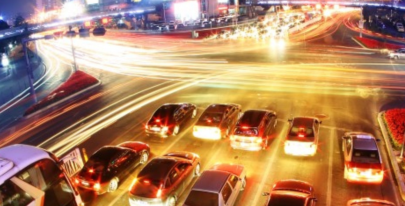 Modern City At Night  Fast  Traffic 610X259